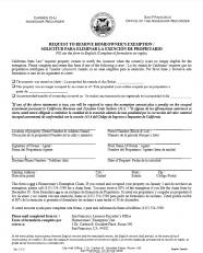 Request to Remove Homeowner's Exemption (Spanish Version - Solicitud para eliminar la exención de propietario)