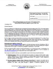 Notice of Requirement to File -- Regular Business (Spanish - Aviso de Requerimiento para Presentar el Formulario 571-L, Declaración de Estado de Empresas)