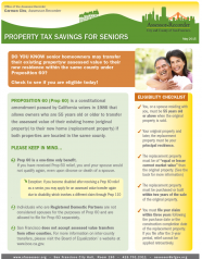 Fact Sheet -- Property Tax Savings For Seniors